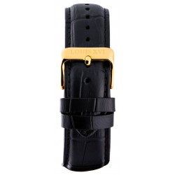 Leather strap Black/Gold (20 mm/22 mm/24 mm)