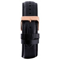 Leather strap Black/Rose gold (20 mm/22 mm/24 mm)