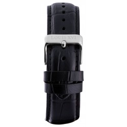 Leather strap Black/Silver (20 mm/22 mm/24 mm)