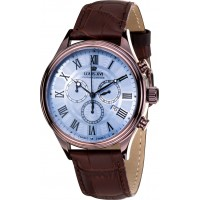 DANTON brun bleu Chronographe Swiss Made