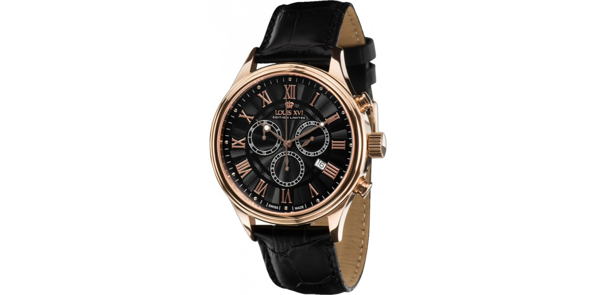 DANTON l'or rosé noir Chronographe Swiss Made