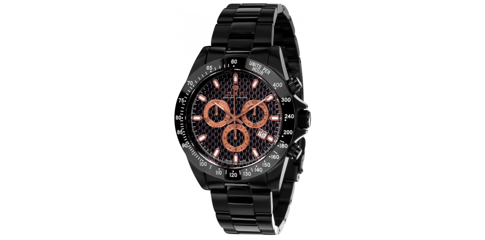 LA FAYETTE l'acier noir rose carbone Swiss Made