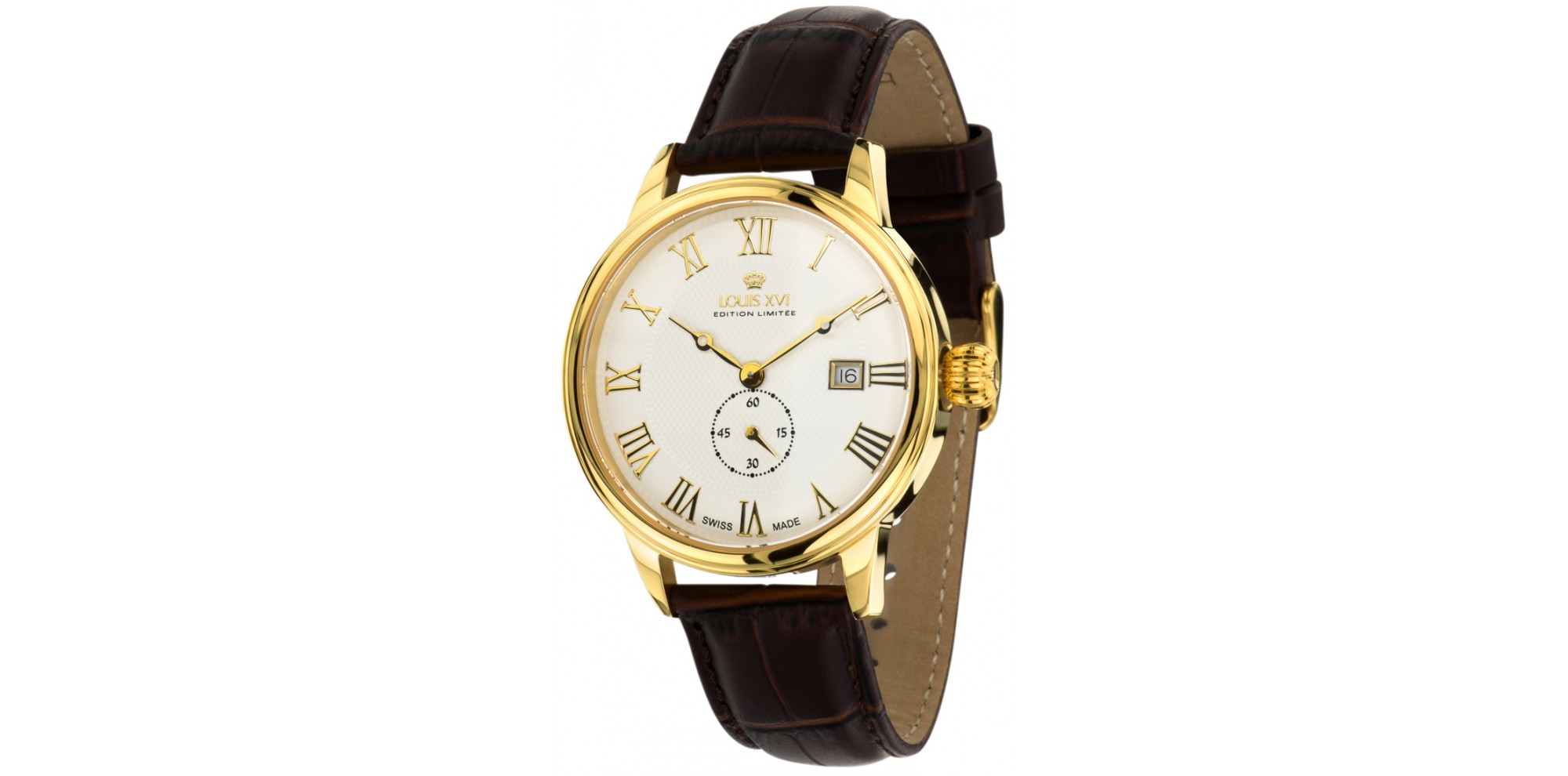 LOUIS CHARLES l'or blanc saphir Swiss Made